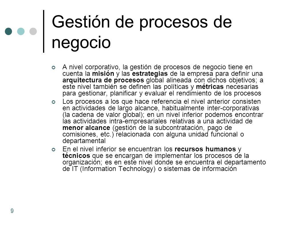 Gestión de procesos de negocio A nivel corporativo, la gestión de procesos de negocio tiene en cuenta la misión y las estrategias de la empresa para d