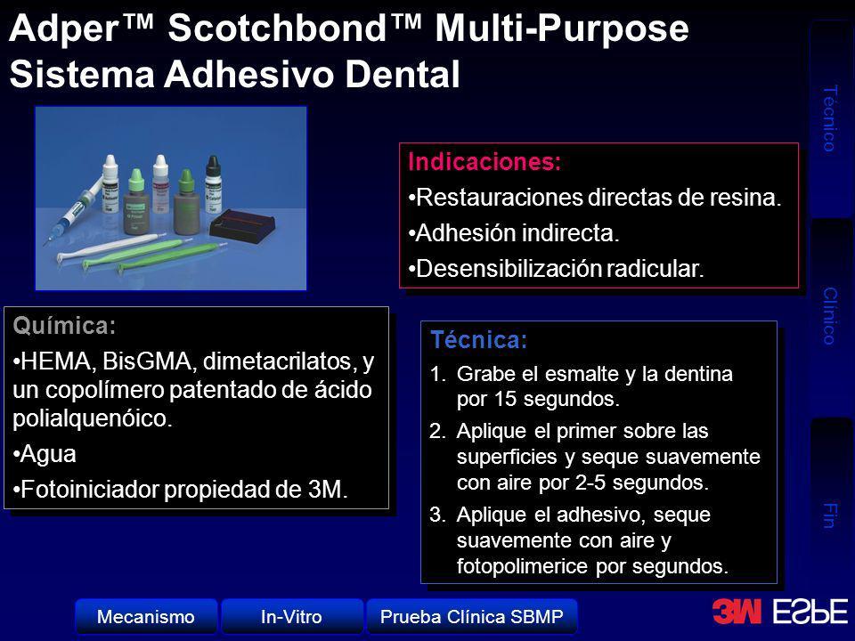 Técnico Clínico Fin Aplicación del Adhesivo Scotchbond Multi-Purpose, secado suavemente con aire y fotopolimerizado por 10 segundos.