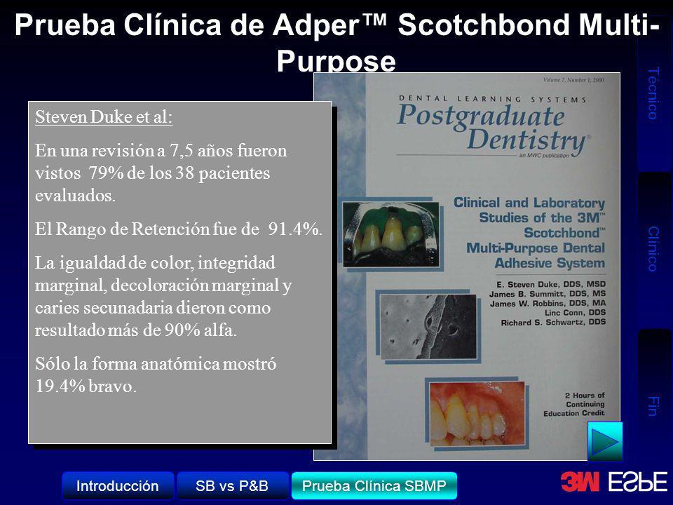 Técnico Clínico Fin Prueba Clínica de Adper Scotchbond Multi- Purpose Steven Duke et al: En una revisión a 7,5 años fueron vistos 79% de los 38 pacien