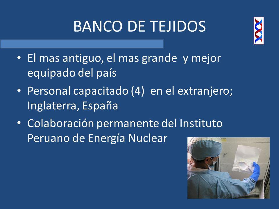 BANCO DE TEJIDOS El mas antiguo, el mas grande y mejor equipado del país Personal capacitado (4) en el extranjero; Inglaterra, España Colaboración permanente del Instituto Peruano de Energía Nuclear