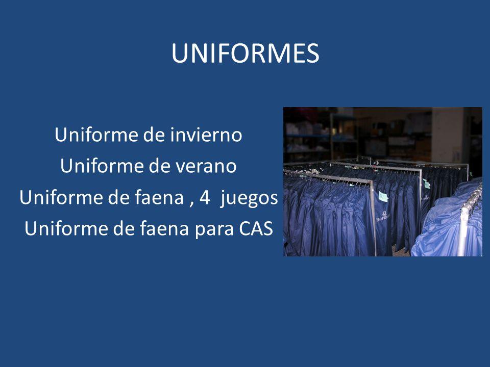 UNIFORMES Uniforme de invierno Uniforme de verano Uniforme de faena, 4 juegos Uniforme de faena para CAS