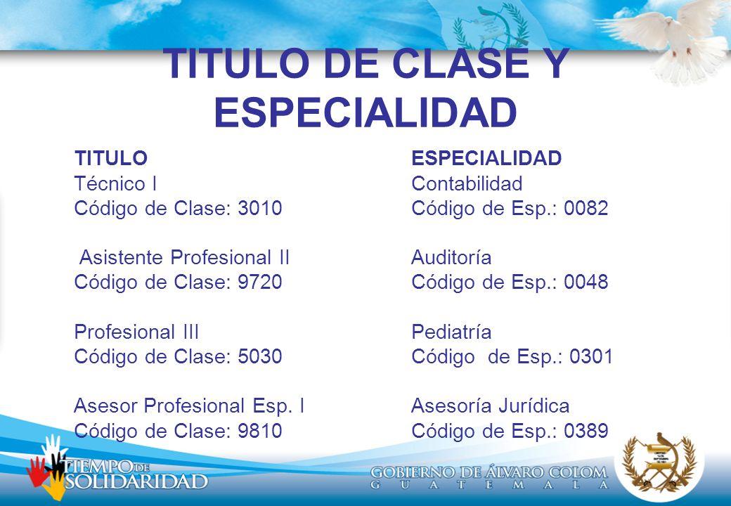 TITULO DE CLASE Y ESPECIALIDAD TITULOESPECIALIDAD Técnico IContabilidad Código de Clase: 3010Código de Esp.: 0082 Asistente Profesional IIAuditoría Código de Clase: 9720Código de Esp.: 0048 Profesional IIIPediatría Código de Clase: 5030Código de Esp.: 0301 Asesor Profesional Esp.