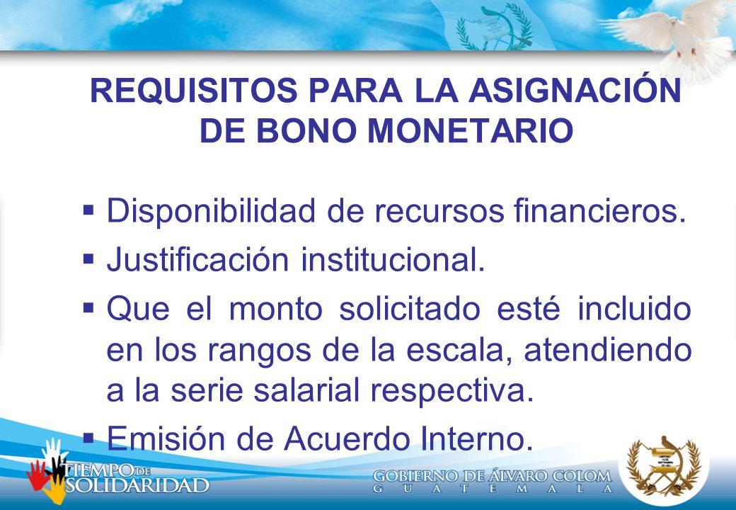REQUISITOS PARA LA ASIGNACIÓN DE BONO MONETARIO Disponibilidad de recursos financieros. Justificación institucional. Que el monto solicitado esté incl
