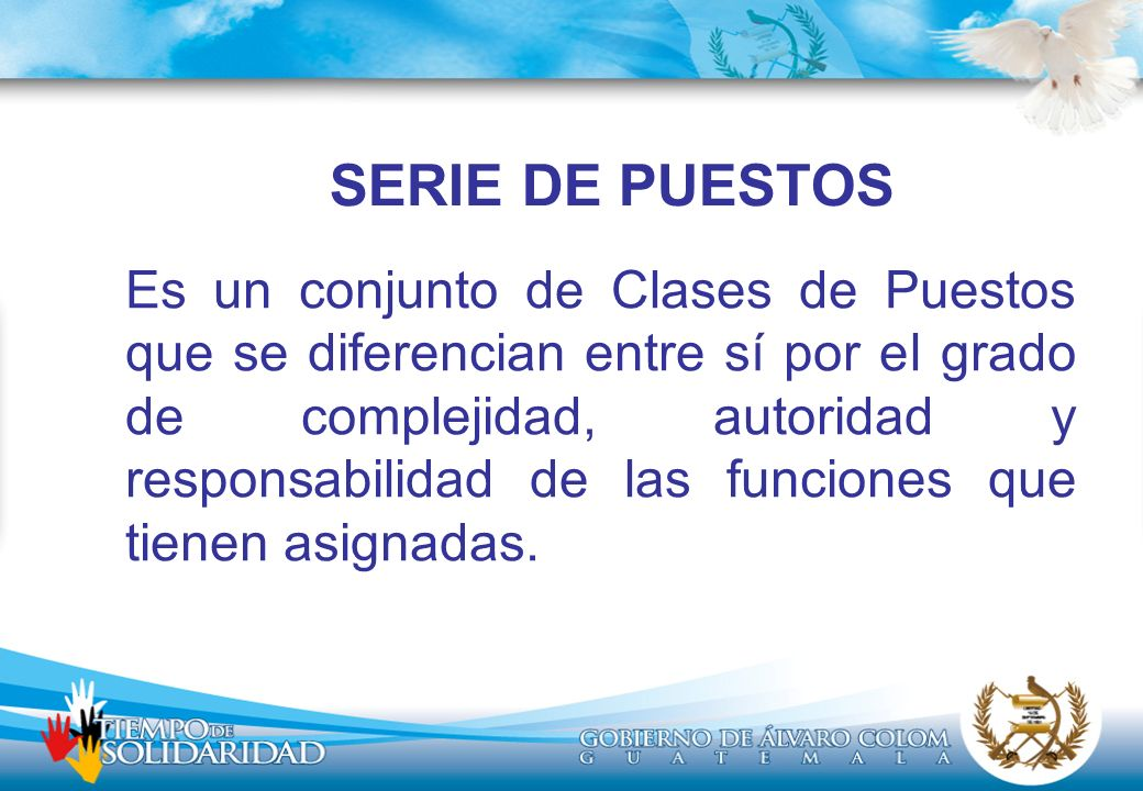 SERIE DE PUESTOS Es un conjunto de Clases de Puestos que se diferencian entre sí por el grado de complejidad, autoridad y responsabilidad de las funciones que tienen asignadas.