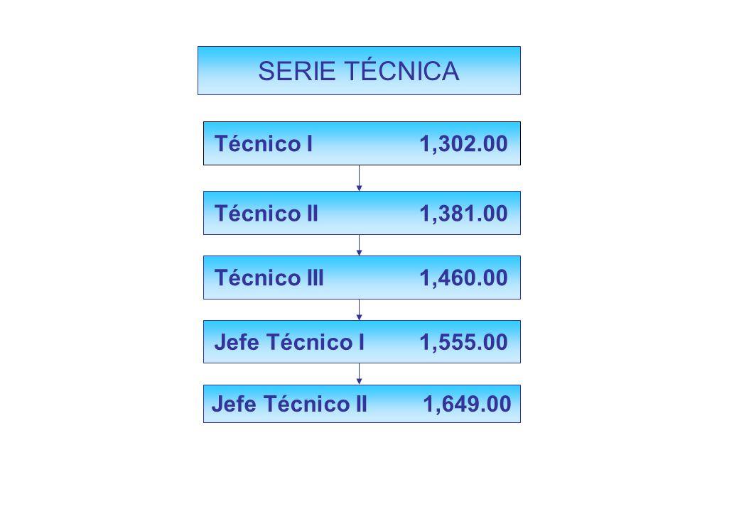 Jefe Técnico II 1,649.00 SERIE TÉCNICA Técnico I 1,302.00 Técnico III 1,460.00 Jefe Técnico I 1,555.00 Técnico II 1,381.00