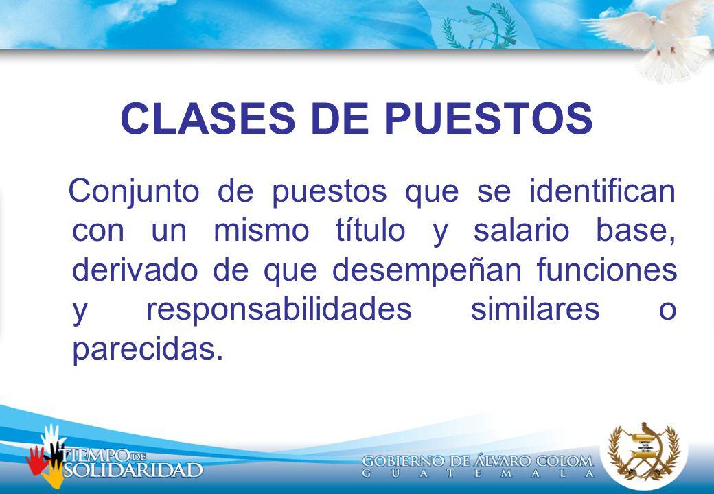 CLASES DE PUESTOS TRABAJADOR OPERATIVO IVTECNICO PROFESIONAL IIASISTENTE PROFESIONAL JEFEPROFESIONAL IDIRECTOR TECNICO II