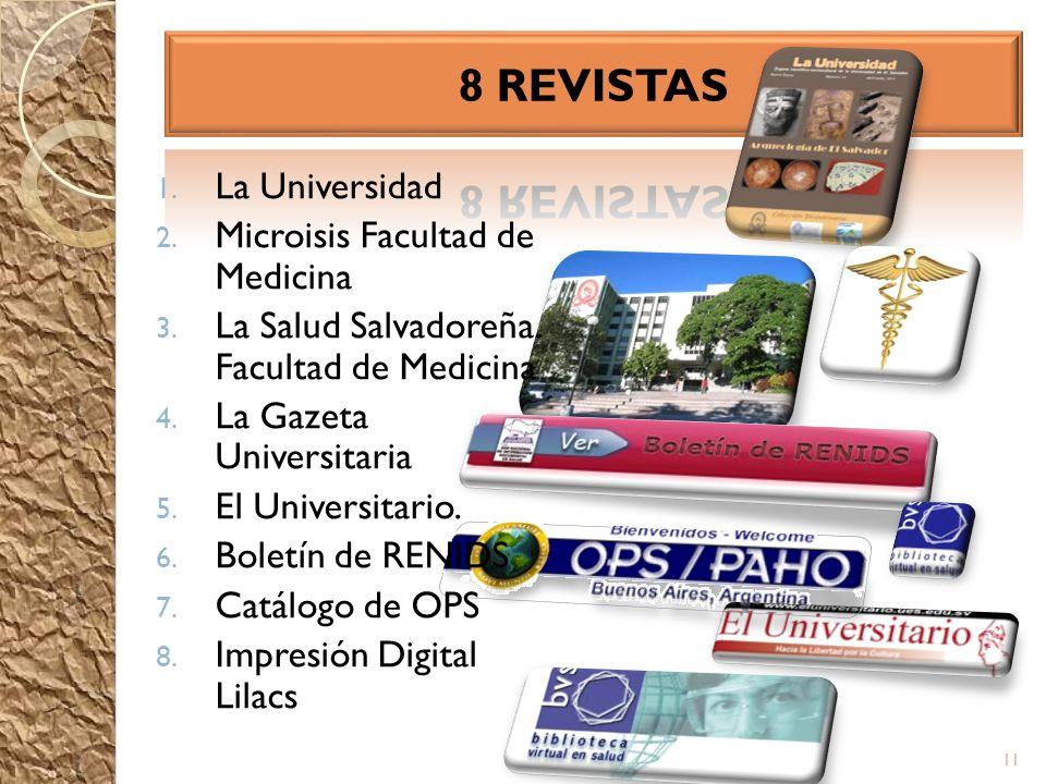 1. La Universidad 2. Microisis Facultad de Medicina 3. La Salud Salvadoreña. Facultad de Medicina 4. La Gazeta Universitaria 5. El Universitario. 6. B