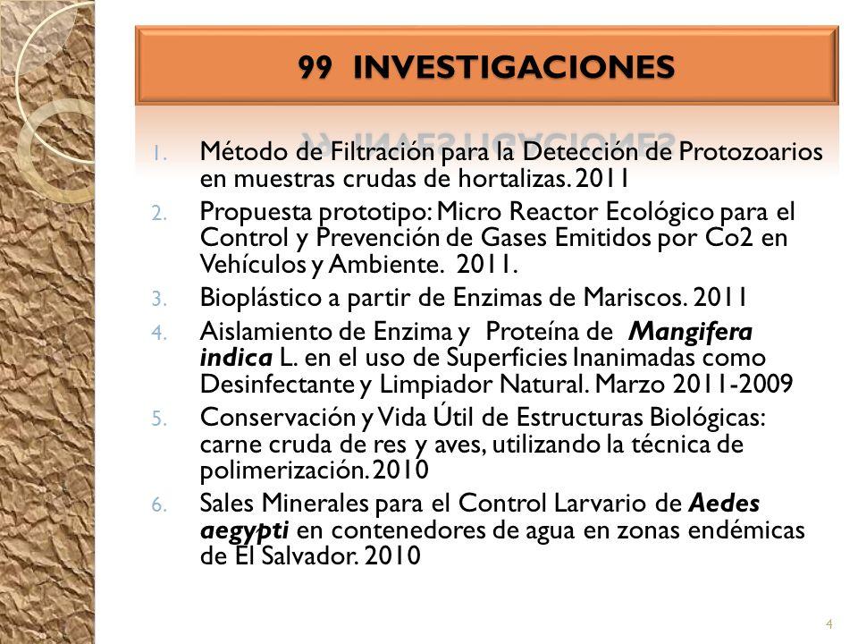 1. Método de Filtración para la Detección de Protozoarios en muestras crudas de hortalizas. 2011 2. Propuesta prototipo: Micro Reactor Ecológico para