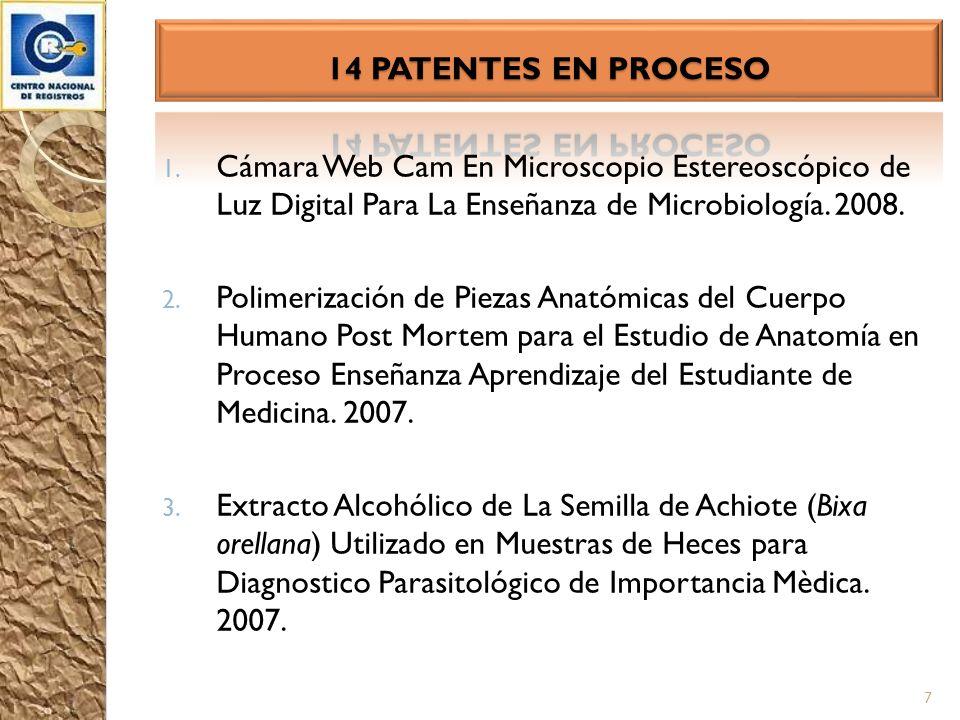 1. Cámara Web Cam En Microscopio Estereoscópico de Luz Digital Para La Enseñanza de Microbiología. 2008. 2. Polimerización de Piezas Anatómicas del Cu