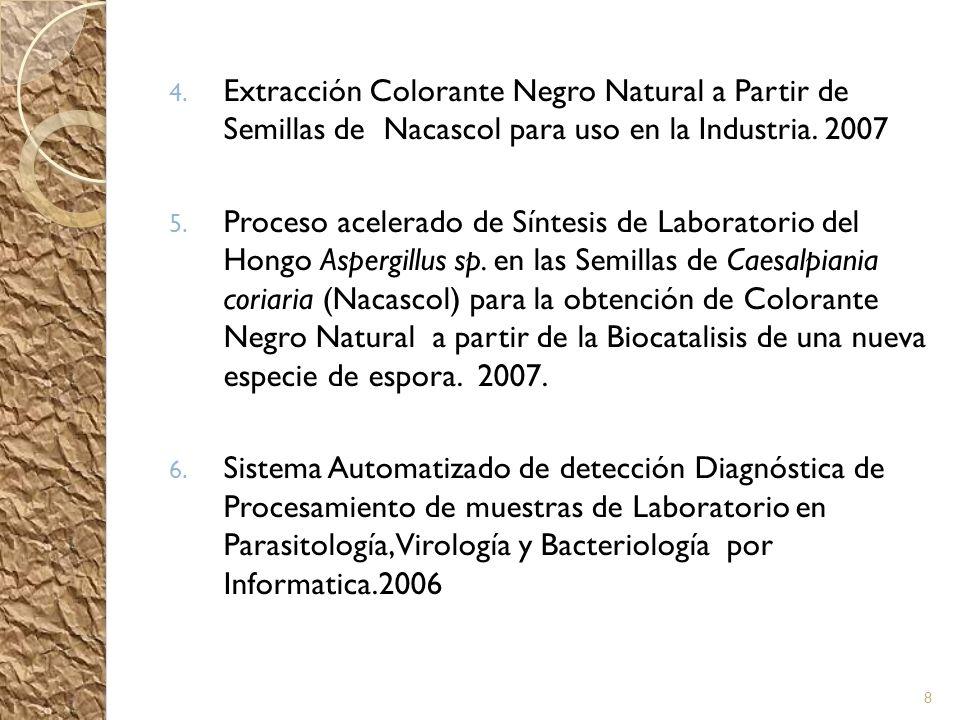 4. Extracción Colorante Negro Natural a Partir de Semillas de Nacascol para uso en la Industria. 2007 5. Proceso acelerado de Síntesis de Laboratorio