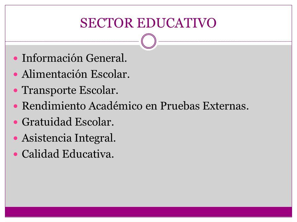 SECTOR EDUCATIVO Información General.Alimentación Escolar.