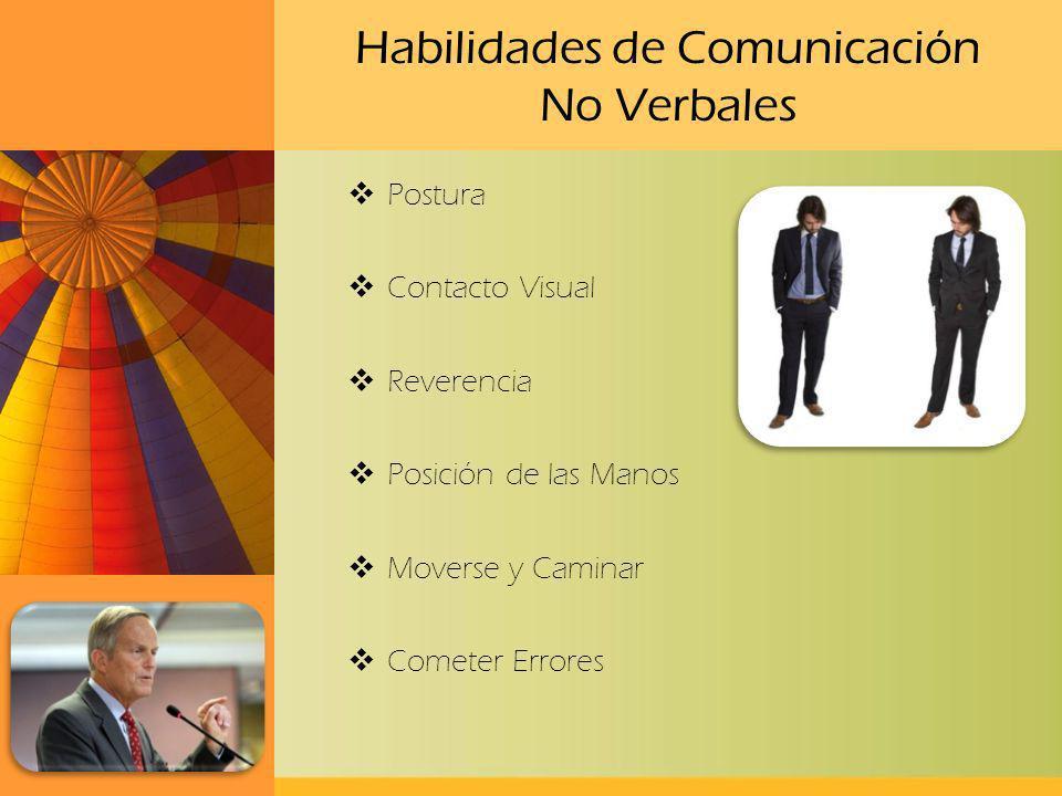 Habilidades de Comunicación No Verbales Postura Contacto Visual Reverencia Posición de las Manos Moverse y Caminar Cometer Errores