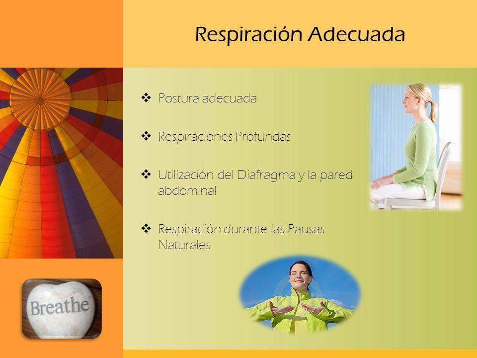 Respiración Adecuada Postura adecuada Respiraciones Profundas Utilización del Diafragma y la pared abdominal Respiración durante las Pausas Naturales