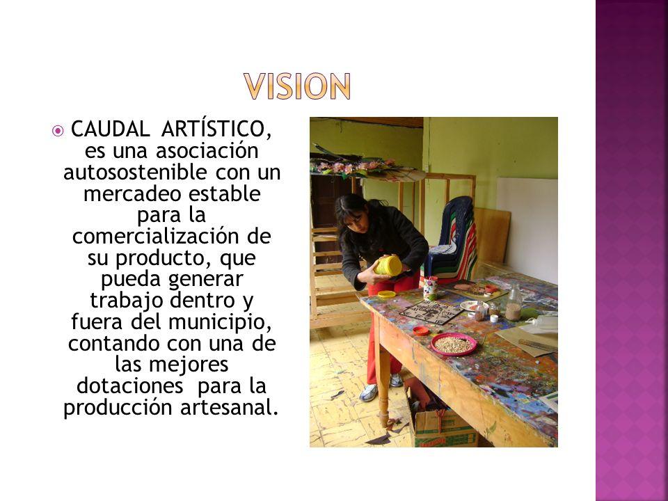 CAUDAL ARTÍSTICO, es una asociación autosostenible con un mercadeo estable para la comercialización de su producto, que pueda generar trabajo dentro y