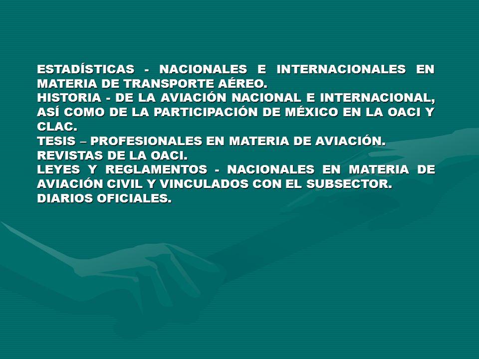 ESTADÍSTICAS - NACIONALES E INTERNACIONALES EN MATERIA DE TRANSPORTE AÉREO. HISTORIA - DE LA AVIACIÓN NACIONAL E INTERNACIONAL, ASÍ COMO DE LA PARTICI