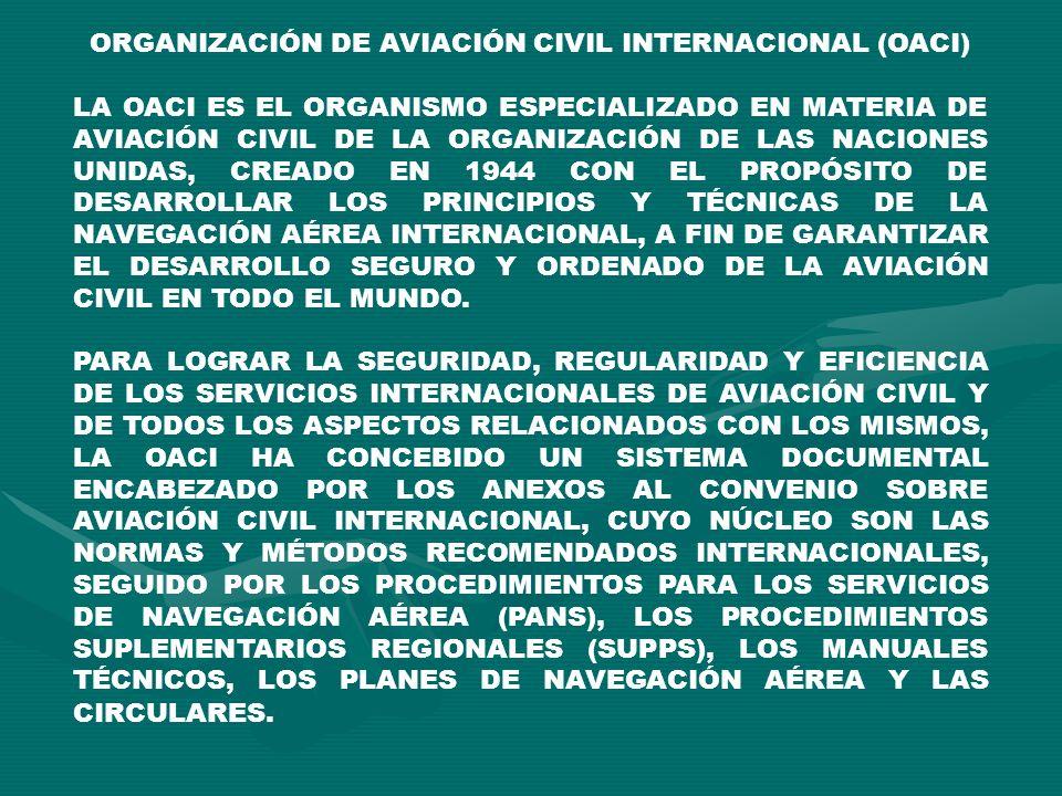 ORGANIZACIÓN DE AVIACIÓN CIVIL INTERNACIONAL (OACI) LA OACI ES EL ORGANISMO ESPECIALIZADO EN MATERIA DE AVIACIÓN CIVIL DE LA ORGANIZACIÓN DE LAS NACIO