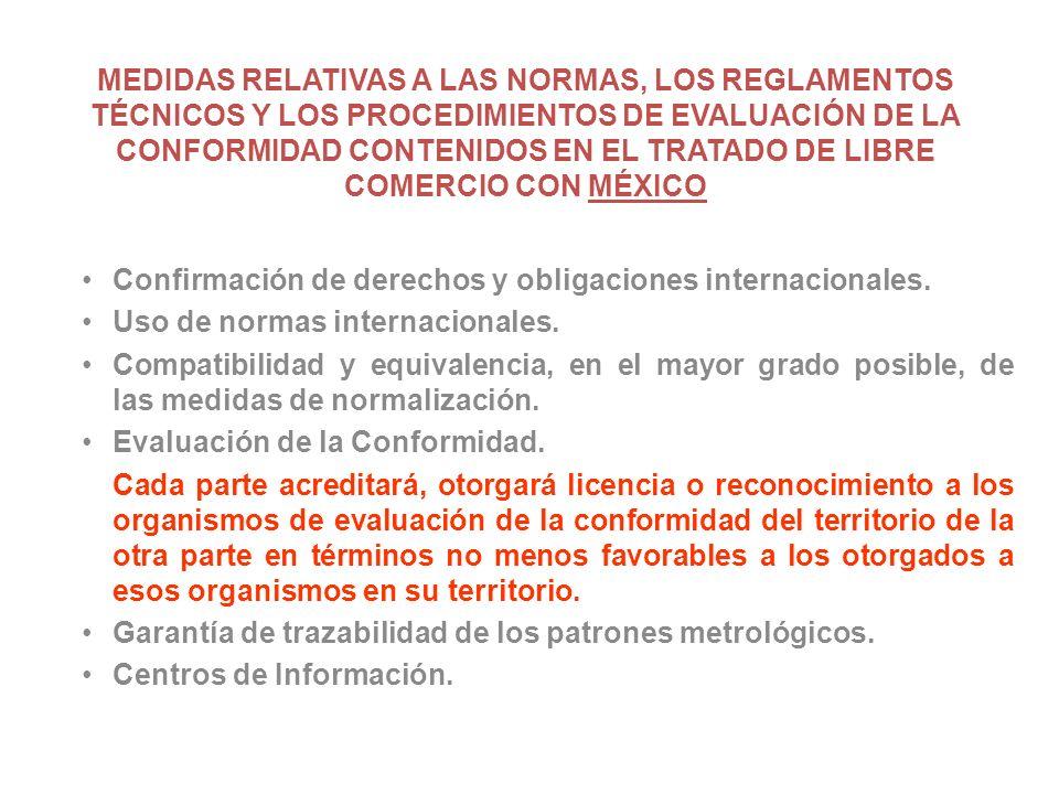 MEDIDAS RELATIVAS A LAS NORMAS, LOS REGLAMENTOS TÉCNICOS Y LOS PROCEDIMIENTOS DE EVALUACIÓN DE LA CONFORMIDAD CONTENIDOS EN EL TRATADO DE LIBRE COMERCIO CON MÉXICO Confirmación de derechos y obligaciones internacionales.