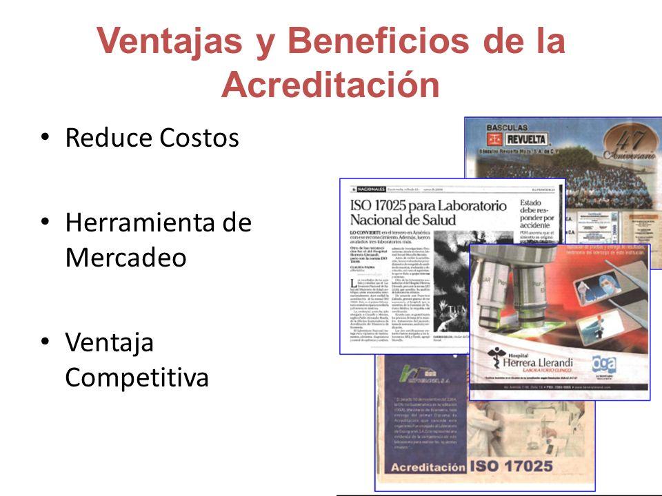 Ventajas y Beneficios de la Acreditación Reduce Costos Herramienta de Mercadeo Ventaja Competitiva