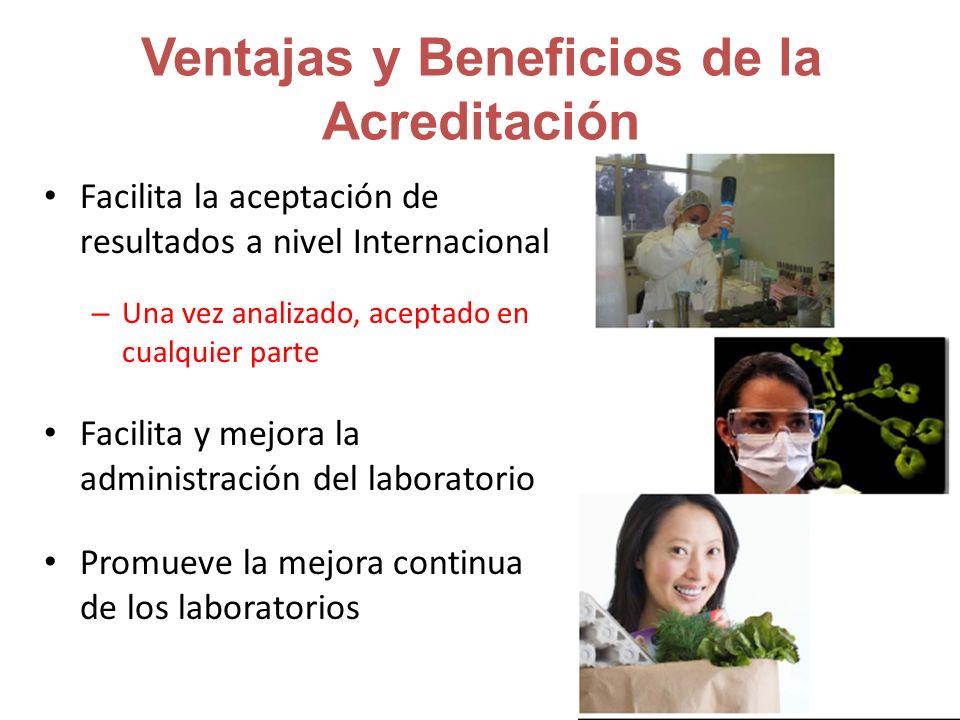 Ventajas y Beneficios de la Acreditación Facilita la aceptación de resultados a nivel Internacional – Una vez analizado, aceptado en cualquier parte Facilita y mejora la administración del laboratorio Promueve la mejora continua de los laboratorios