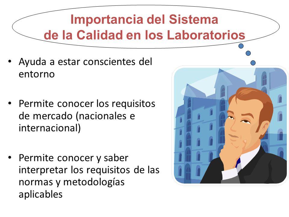 Importancia del Sistema de la Calidad en los Laboratorios Ayuda a estar conscientes del entorno Permite conocer los requisitos de mercado (nacionales e internacional) Permite conocer y saber interpretar los requisitos de las normas y metodologías aplicables