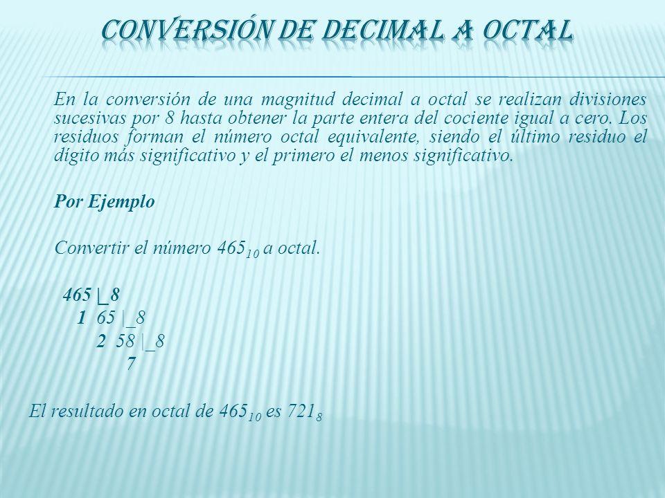 Se realiza de modo contrario a la anterior conversión, agrupando los bits en grupos de 3. Por Ejemplo: 111 001 101 110 7 1 5 6 111001101110 2 = 7156 8