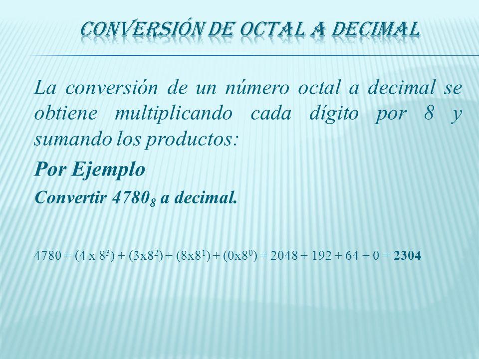 En la conversión de una magnitud decimal a octal se realizan divisiones sucesivas por 8 hasta obtener la parte entera del cociente igual a cero. Los r