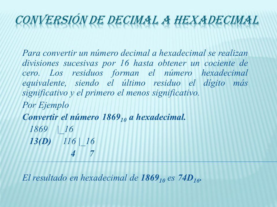 La conversión de hexadecimal a binario se facilita porque cada dígito hexadecimal se convierte directamente en 4 dígitos binarios equivalentes. Por Ej