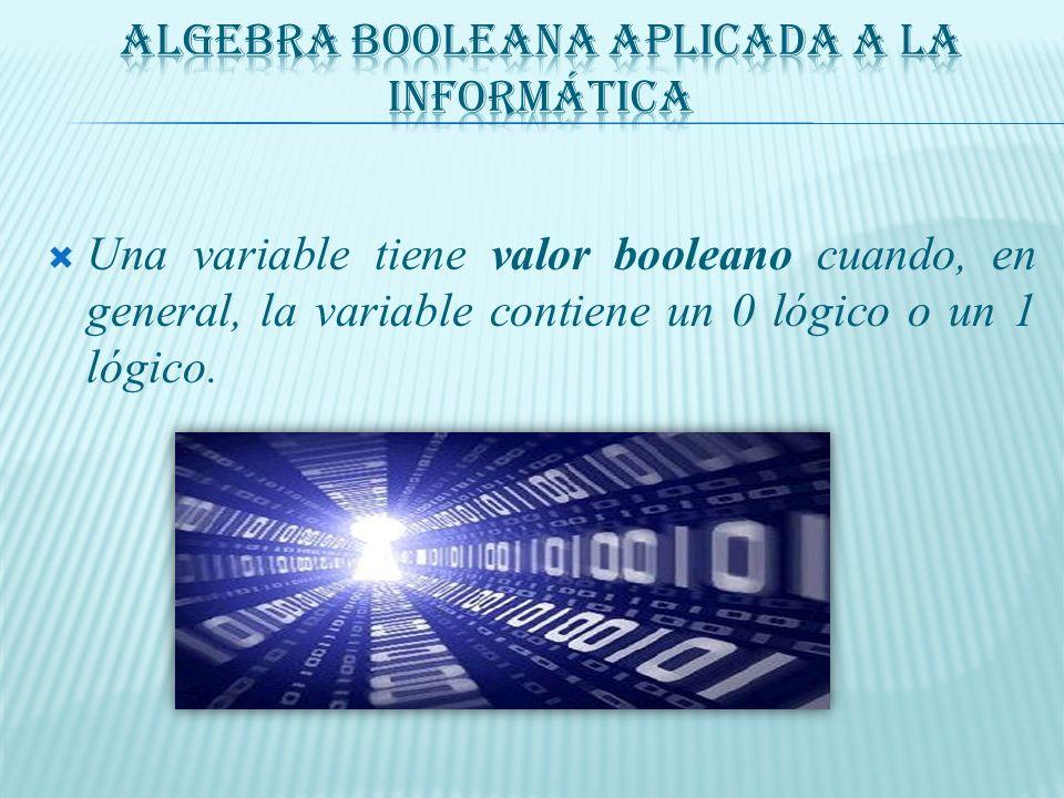 Una variable tiene valor booleano cuando, en general, la variable contiene un 0 lógico o un 1 lógico.