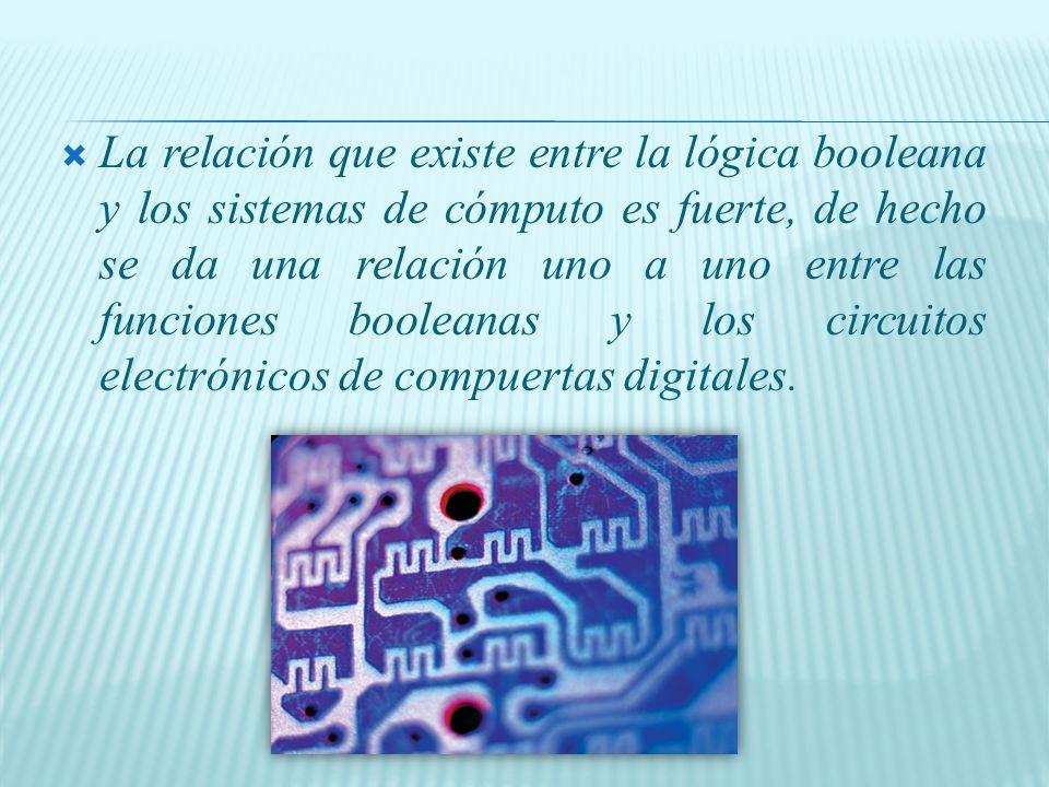 La relación que existe entre la lógica booleana y los sistemas de cómputo es fuerte, de hecho se da una relación uno a uno entre las funciones booleanas y los circuitos electrónicos de compuertas digitales.