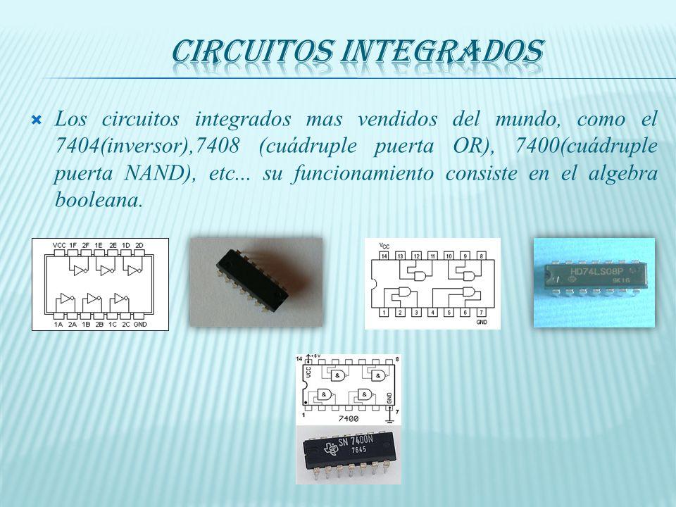 Los circuitos integrados mas vendidos del mundo, como el 7404(inversor),7408 (cuádruple puerta OR), 7400(cuádruple puerta NAND), etc...