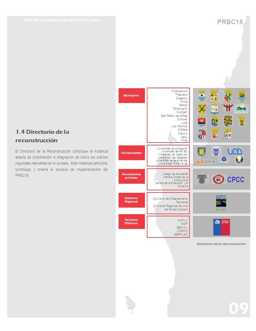 PRBC18 Plan de Reconstrucción del Borde Costero Directorio de la reconstrucción Cobquecura Treguaco Coelemu Tome Penco Talcahuano Hualpen San Pedro de