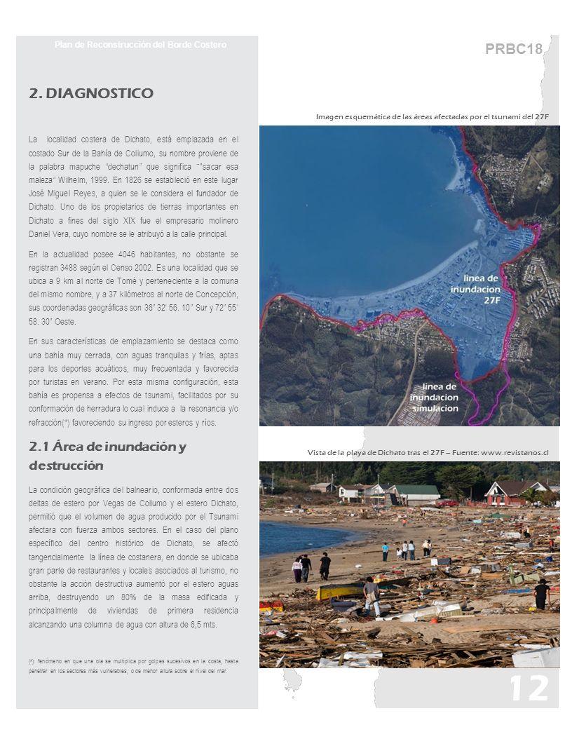 PRBC18 Plan de Reconstrucción del Borde Costero 2. DIAGNOSTICO La localidad costera de Dichato, está emplazada en el costado Sur de la Bahía de Colium