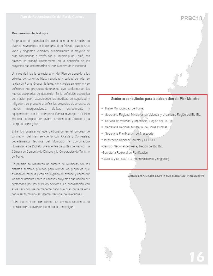 16 PRBC18 Plan de Reconstrucción del Borde Costero Reuniones de trabajo El proceso de planificación contó con la realización de diversas reuniones con