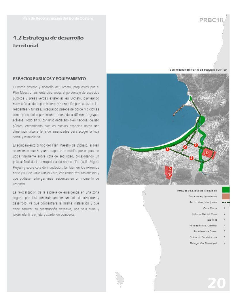 PRBC18 Estrategia territorial de espacio publico 20 Plan de Reconstrucción del Borde Costero 4.2 Estrategia de desarrollo territorial ESPACIOS PUBLICO