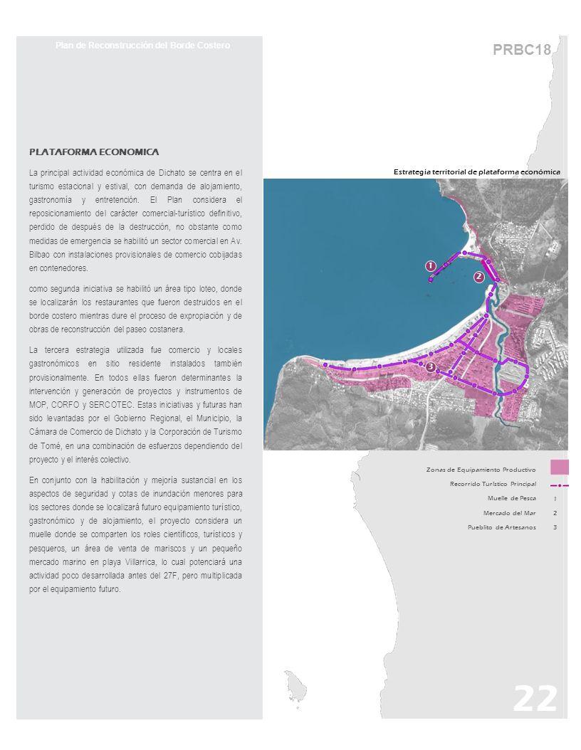 PRBC18 Estrategia territorial de plataforma económica 22 Plan de Reconstrucción del Borde Costero PLATAFORMA ECONOMICA La principal actividad económic