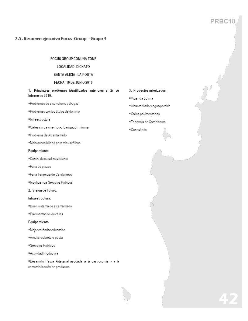 42 PRBC18 FOCUS GROUP COMUNA TOME LOCALIDAD: DICHATO SANTA ALICIA - LA POSTA FECHA: 10 DE JUNIO 2010 1.- Principales problemas identificados anteriore