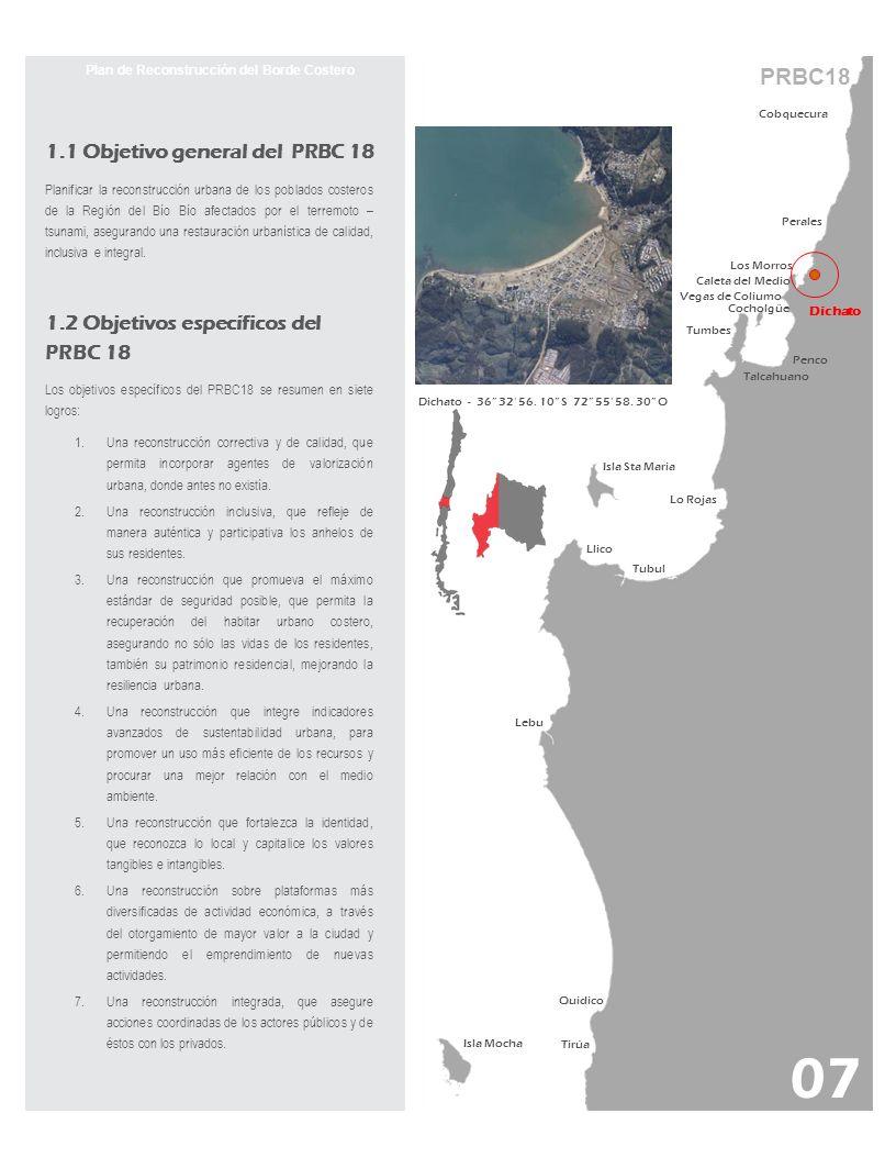 PRBC18 Plan de Reconstrucción del Borde Costero Cobquecura Perales Los Morros Dichato Vegas de Coliumo Caleta del Medio Cocholgüe Tumbes Talcahuano Pe