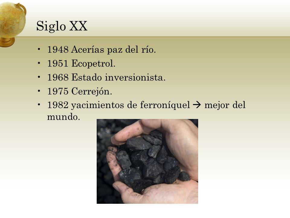 Siglo XX 1948 Acerías paz del río. 1951 Ecopetrol. 1968 Estado inversionista. 1975 Cerrejón. 1982 yacimientos de ferroníquel mejor del mundo.