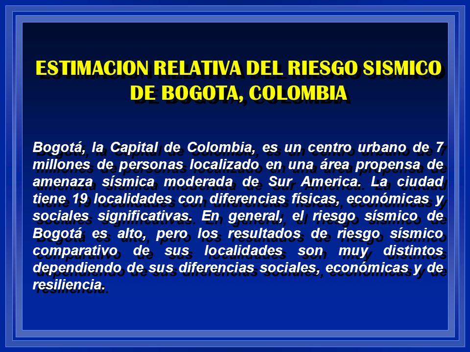 ESTIMACION RELATIVA DEL RIESGO SISMICO DE BOGOTA, COLOMBIA Bogotá, la Capital de Colombia, es un centro urbano de 7 millones de personas localizado en