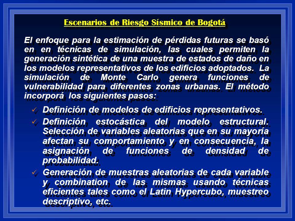Escenarios de Riesgo Sísmico de Bogotá El enfoque para la estimación de pérdidas futuras se basó en en técnicas de simulación, las cuales permiten la