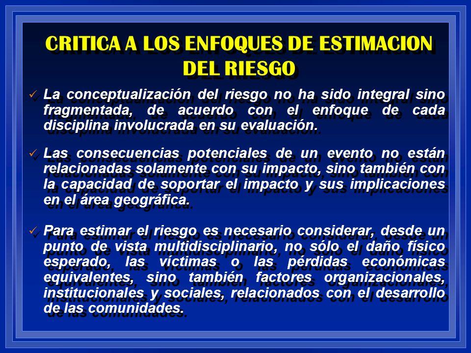 CRITICA A LOS ENFOQUES DE ESTIMACION DEL RIESGO La conceptualización del riesgo no ha sido integral sino fragmentada, de acuerdo con el enfoque de cad