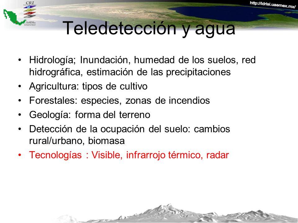 Teledetección y agua Hidrología; Inundación, humedad de los suelos, red hidrográfica, estimación de las precipitaciones Agricultura: tipos de cultivo