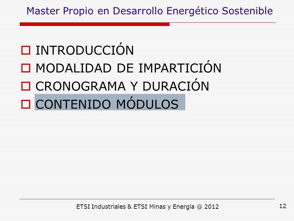 ETSI Industriales & ETSI Minas y Energía @ 2012 12 INTRODUCCIÓN MODALIDAD DE IMPARTICIÓN CRONOGRAMA Y DURACIÓN CONTENIDO MÓDULOS Master Propio en Desarrollo Energético Sostenible