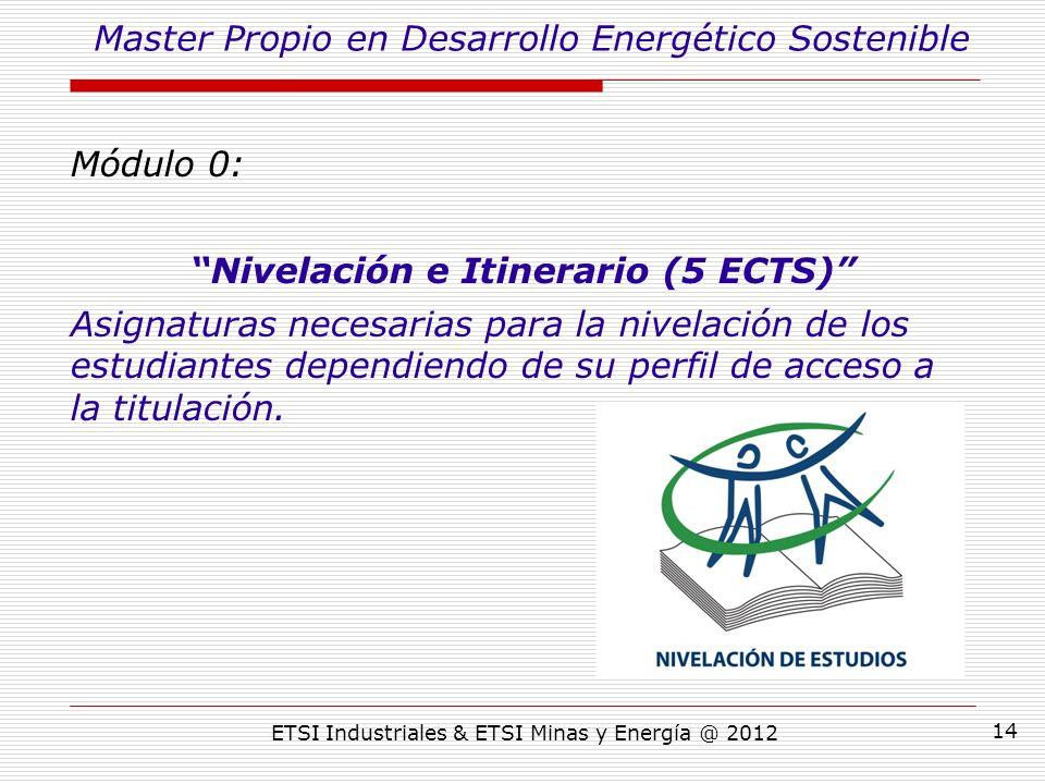 ETSI Industriales & ETSI Minas y Energía @ 2012 14 Módulo 0: Nivelación e Itinerario (5 ECTS) Asignaturas necesarias para la nivelación de los estudiantes dependiendo de su perfil de acceso a la titulación.