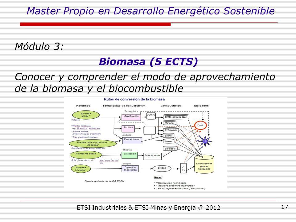 ETSI Industriales & ETSI Minas y Energía @ 2012 17 Módulo 3: Biomasa (5 ECTS) Conocer y comprender el modo de aprovechamiento de la biomasa y el biocombustible Master Propio en Desarrollo Energético Sostenible