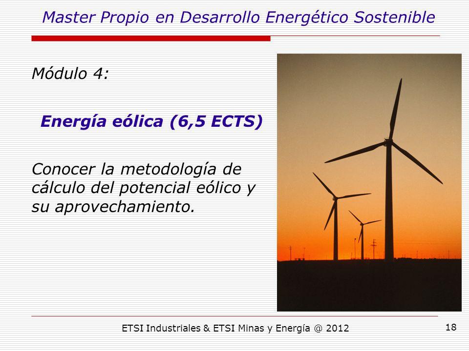 ETSI Industriales & ETSI Minas y Energía @ 2012 18 Módulo 4: Energía eólica (6,5 ECTS) Conocer la metodología de cálculo del potencial eólico y su aprovechamiento.