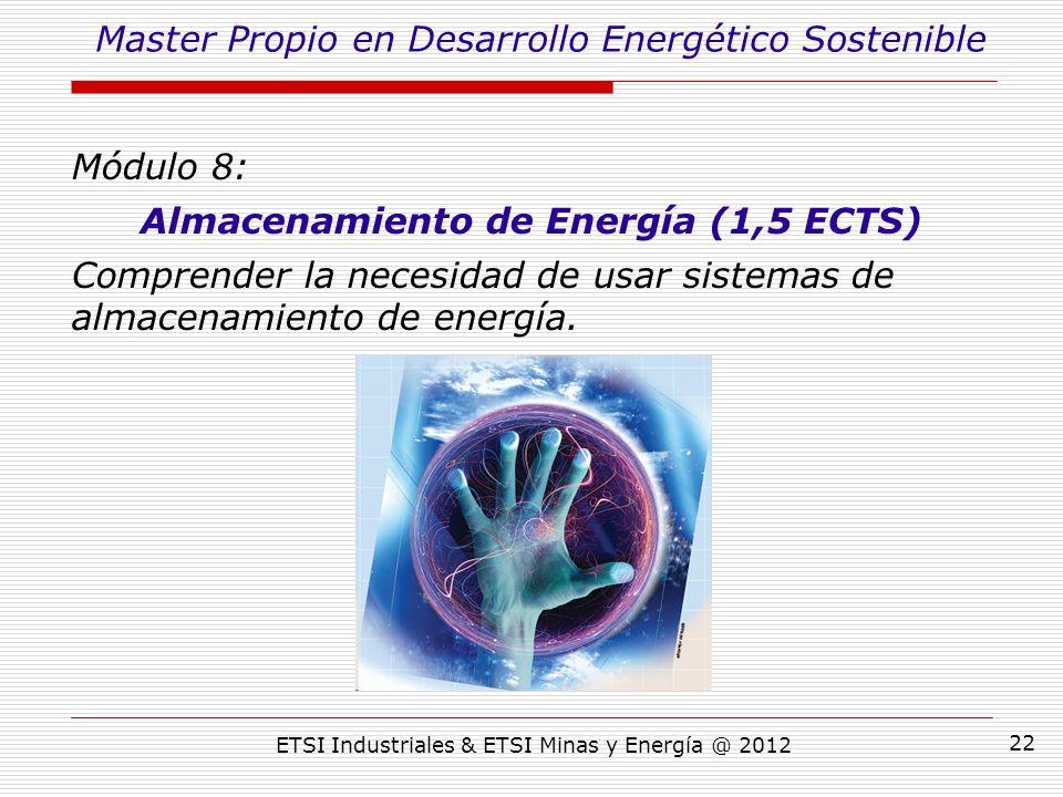 ETSI Industriales & ETSI Minas y Energía @ 2012 22 Módulo 8: Almacenamiento de Energía (1,5 ECTS) Comprender la necesidad de usar sistemas de almacenamiento de energía.