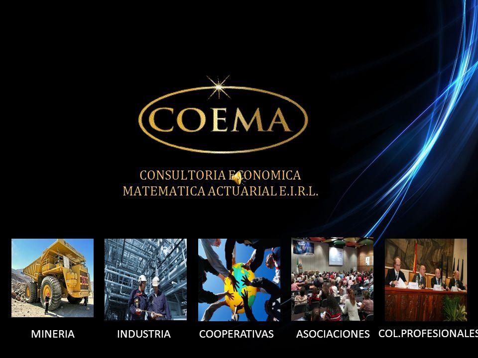 MINERIAINDUSTRIACOOPERATIVASASOCIACIONES COL.PROFESIONALES CONSULTORIA ECONOMICA MATEMATICA ACTUARIAL E.I.R.L.