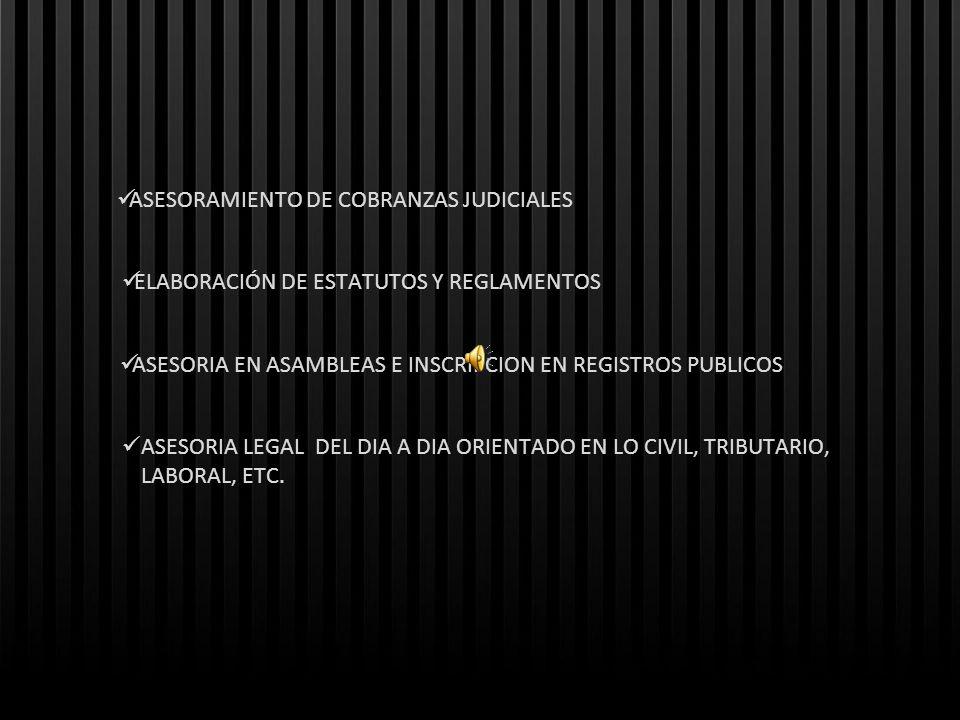 ASESORAMIENTO DE COBRANZAS JUDICIALES ELABORACIÓN DE ESTATUTOS Y REGLAMENTOS ASESORIA EN ASAMBLEAS E INSCRIPCION EN REGISTROS PUBLICOS ASESORIA LEGAL