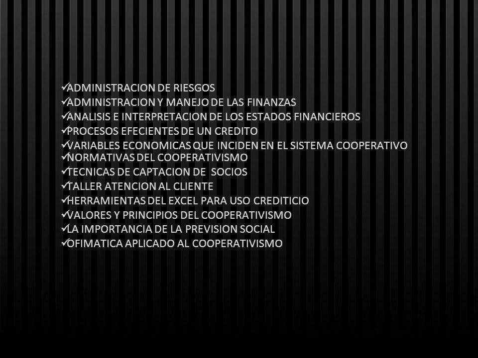 ADMINISTRACION DE RIESGOS ADMINISTRACION Y MANEJO DE LAS FINANZAS ANALISIS E INTERPRETACION DE LOS ESTADOS FINANCIEROS PROCESOS EFECIENTES DE UN CREDI